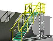 Konstruktion med bærende profiler og fiberrist trappetrin i 3D